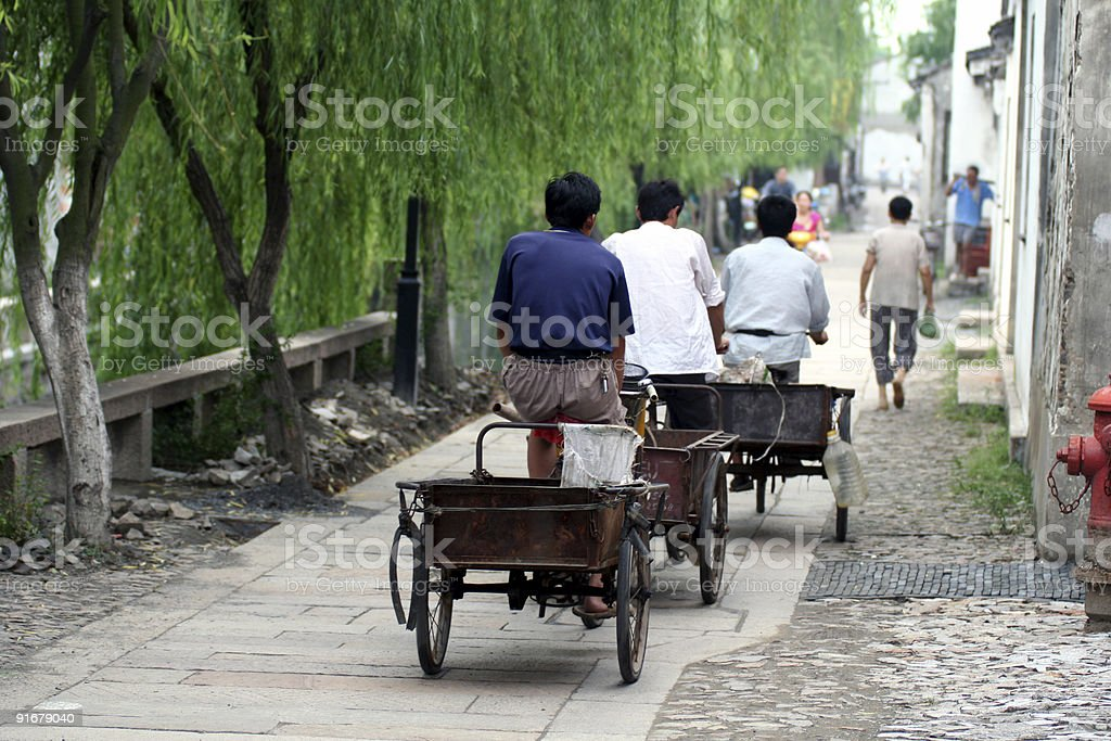 Chinese workers in the street royalty-free stock photo