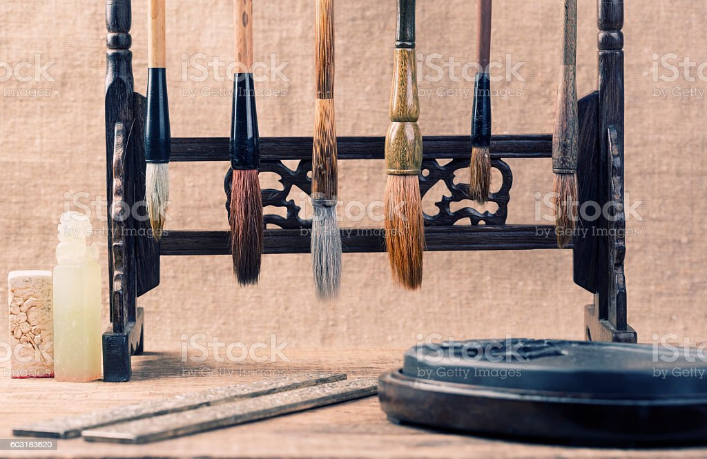 Chinese written accessories on the table stock photo