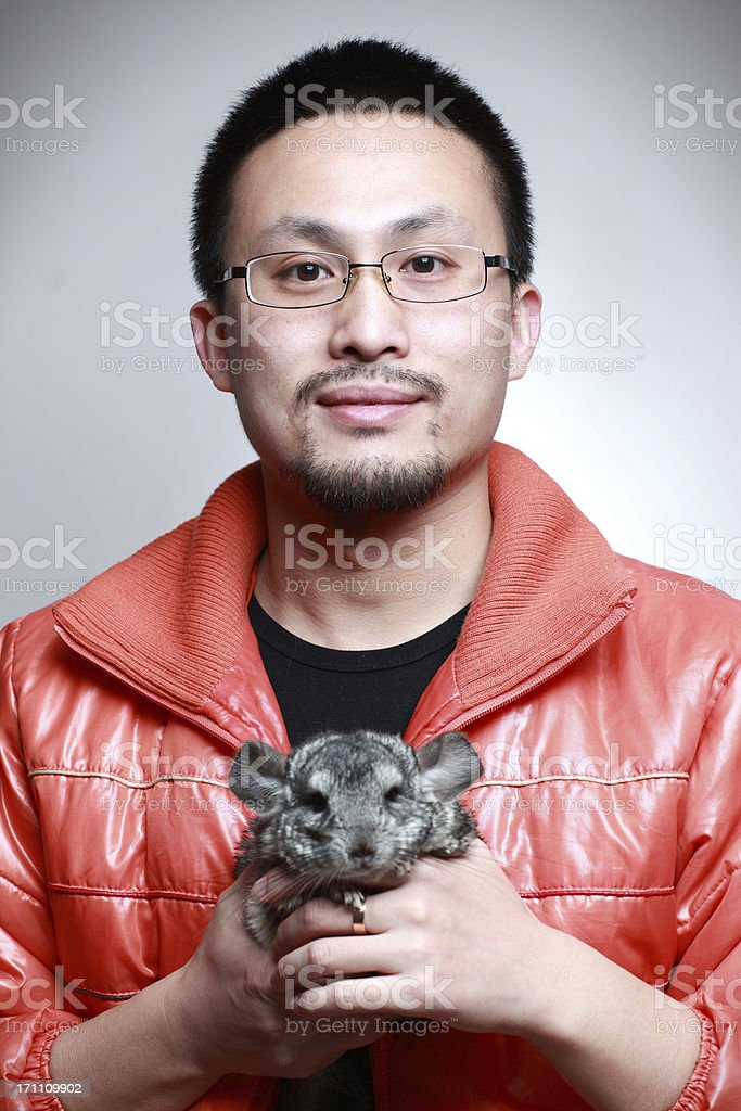 Chinese youth and mink royalty-free stock photo