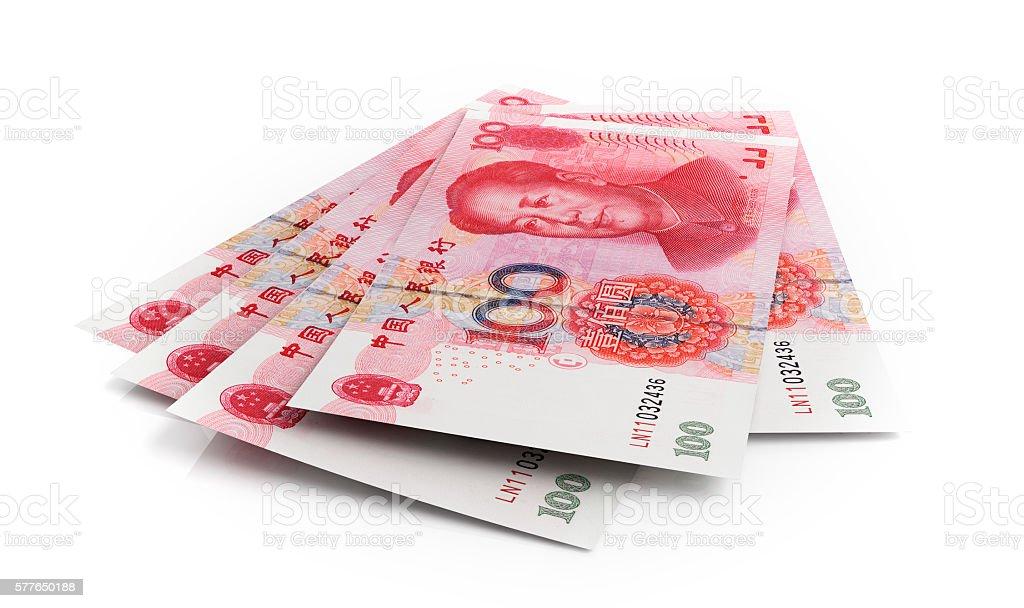 Chinese yuan banknotes stock photo