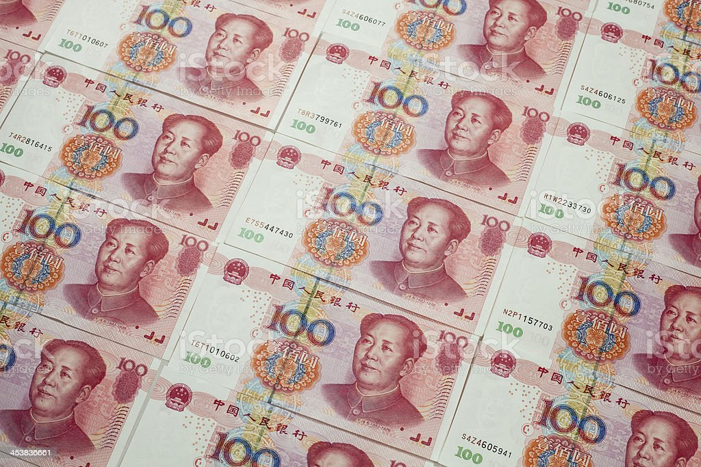 Chinese Yuan currency bills stock photo
