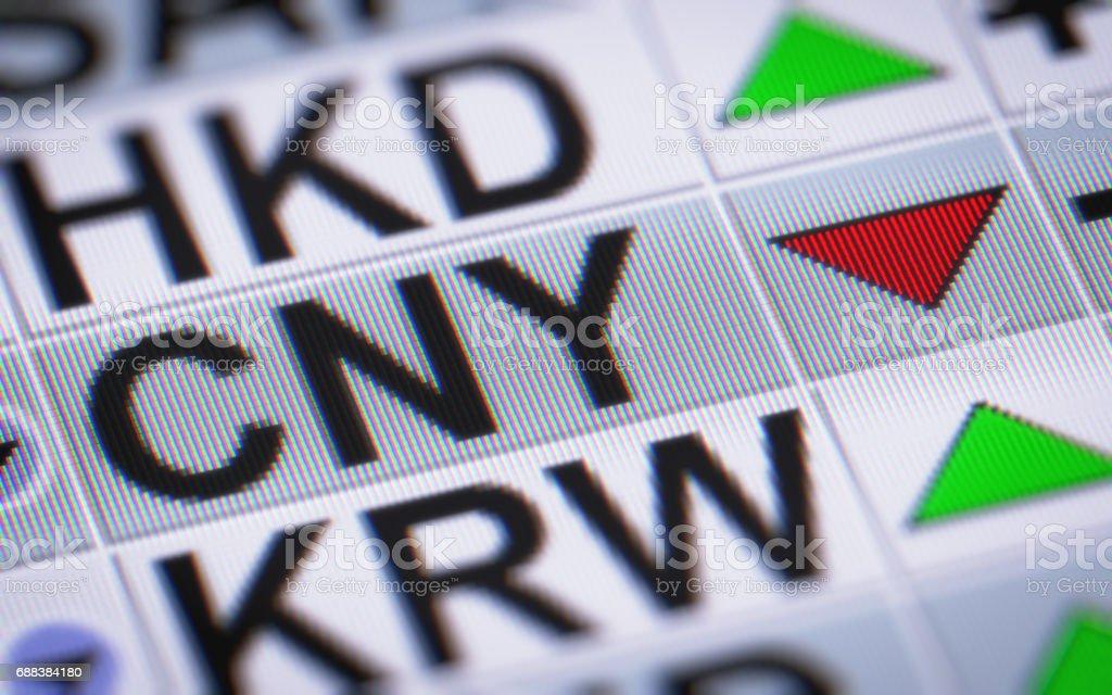 Chinese Yuan. Down. stock photo