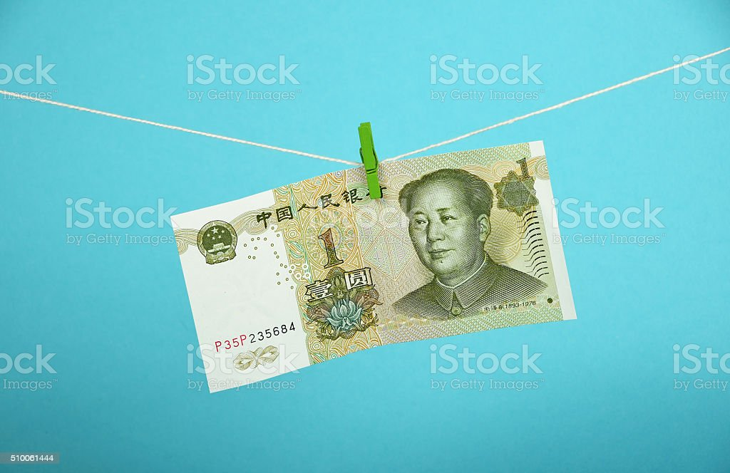 Chinese yuan growth illustrated over blue royalty-free stock photo