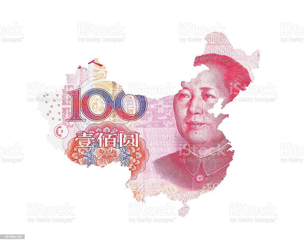 Chinese Yuan Map stock photo