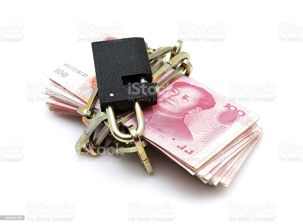 Chinese Yuan Note bundle with chain isolated on white background stock photo