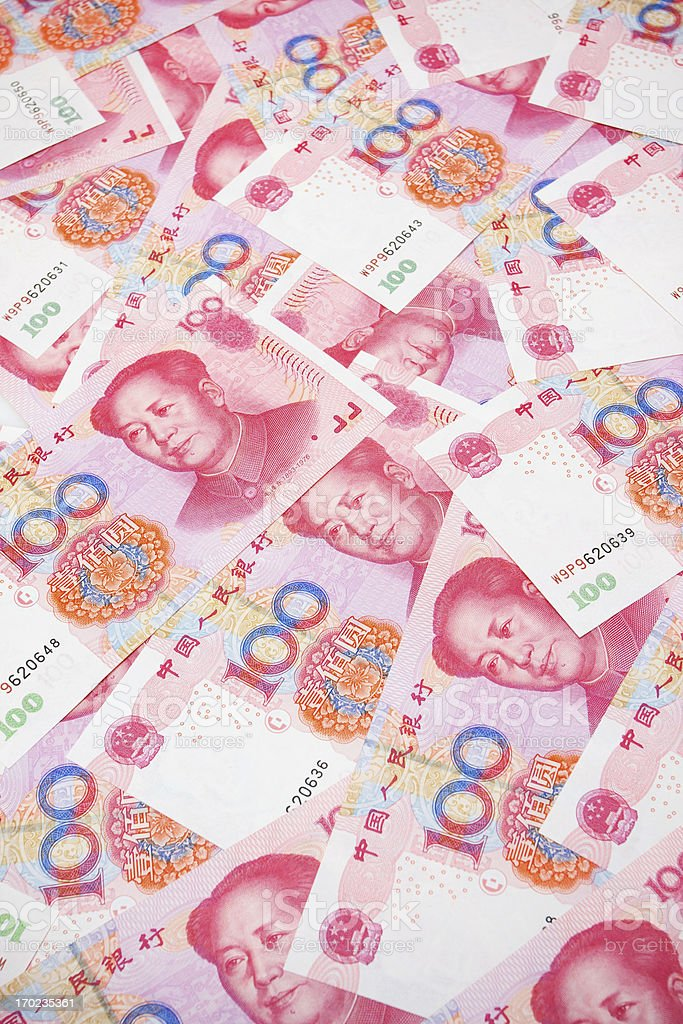 Chinese Yuan Note (Renminbi) textured background royalty-free stock photo