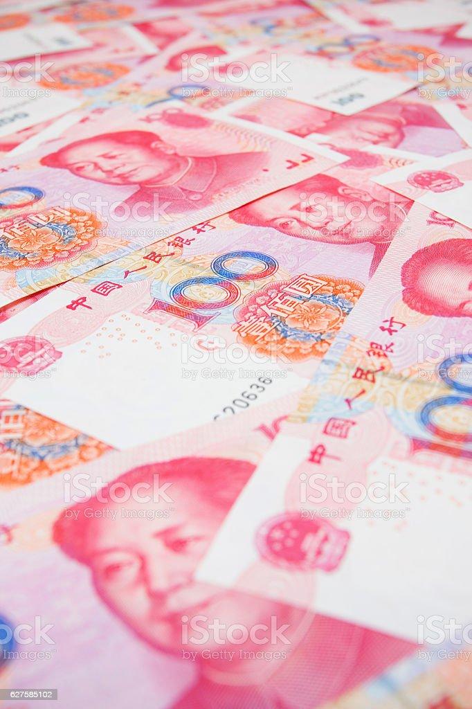 Chinese Yuan Note (Renminbi) textured background stock photo