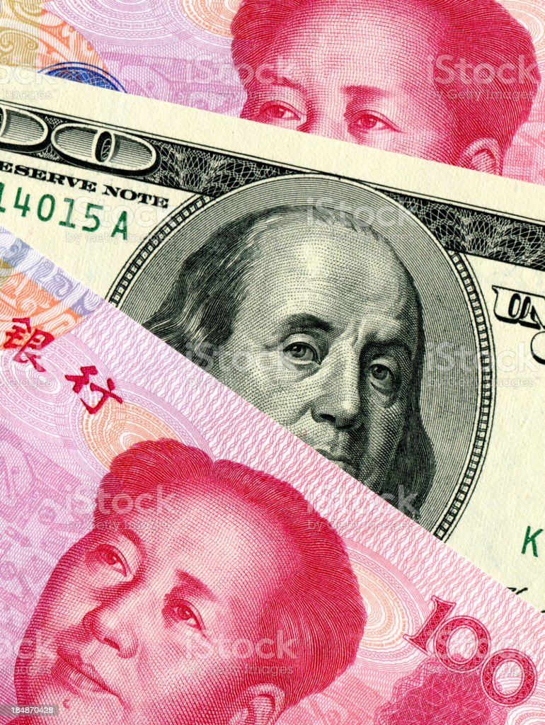 Chinese Yuan Note VS U.S. dollar background stock photo