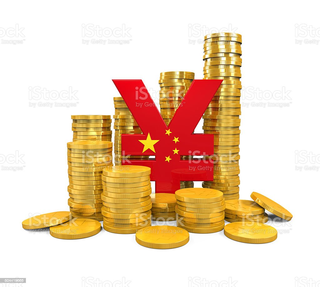 Chinese Yuan Symbol And Gold Coins Stock Photo 504419666 Istock