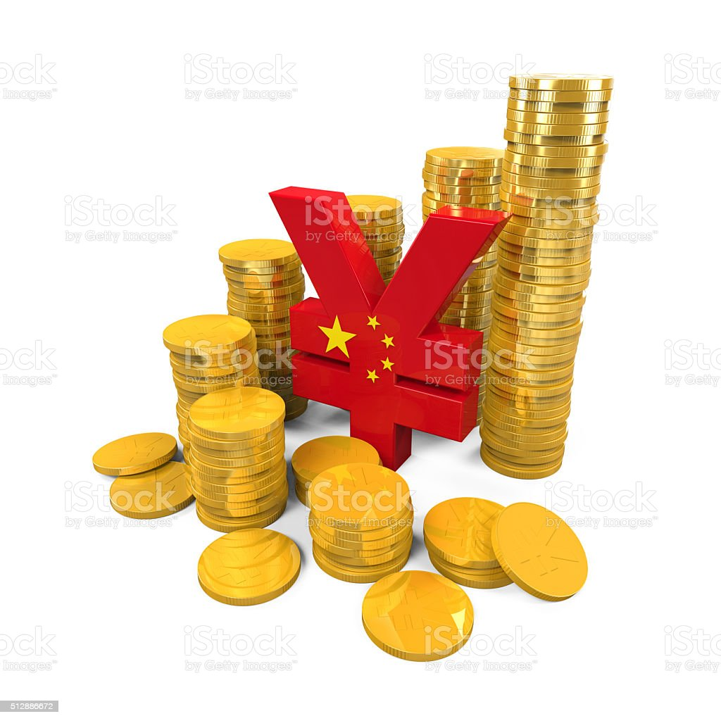 Chinese Yuan Symbol and Gold Coins stock photo