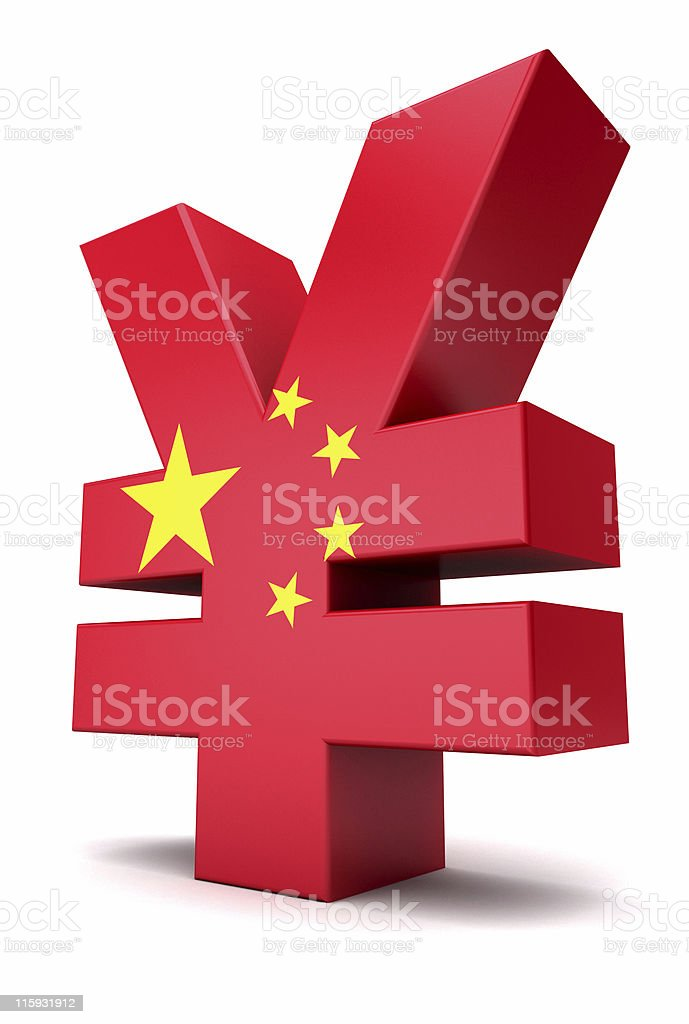 A 3D Chinese Yuan symbol in red with five yellow stars royalty-free stock photo