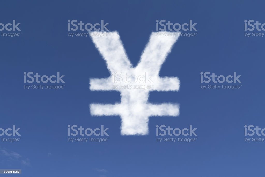 Chinese Yuan Symbol in the form of a Cloud stock photo