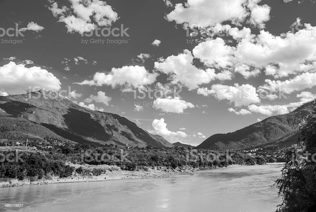 Chinese Yunnan scenery black and white background stock photo