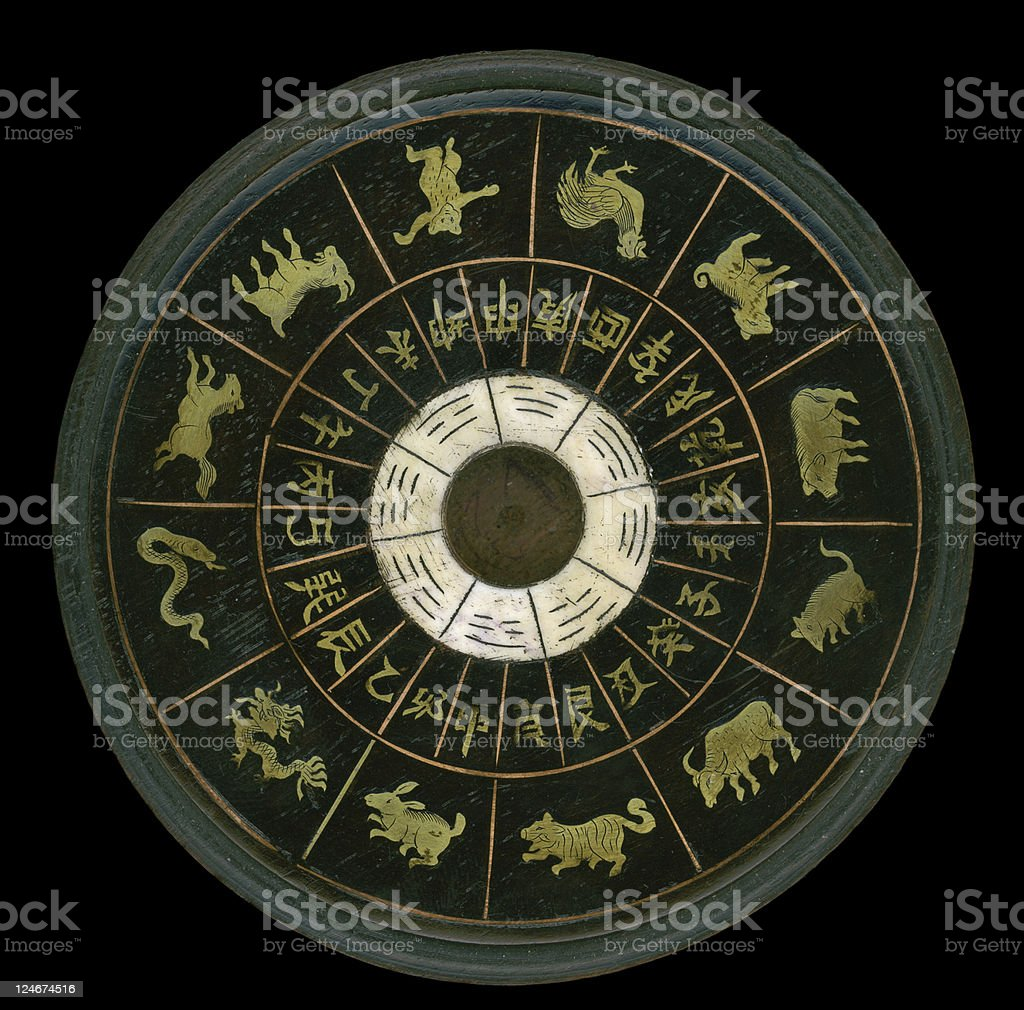 Chinese zodiac calendar wheel with characters and animals stock photo