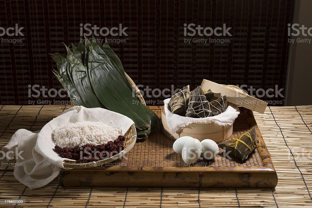Chinese Zongzi (Rice Dumpling) and Ingredients stock photo