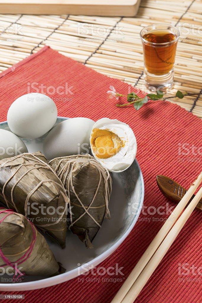 Chinese Zongzi (Rice Dumpling) and Salted Egg stock photo