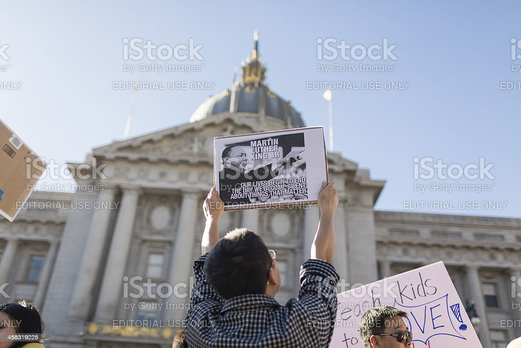 Chinese-Americans protest Kimmel skit in San Francisco - Stock Image stock photo