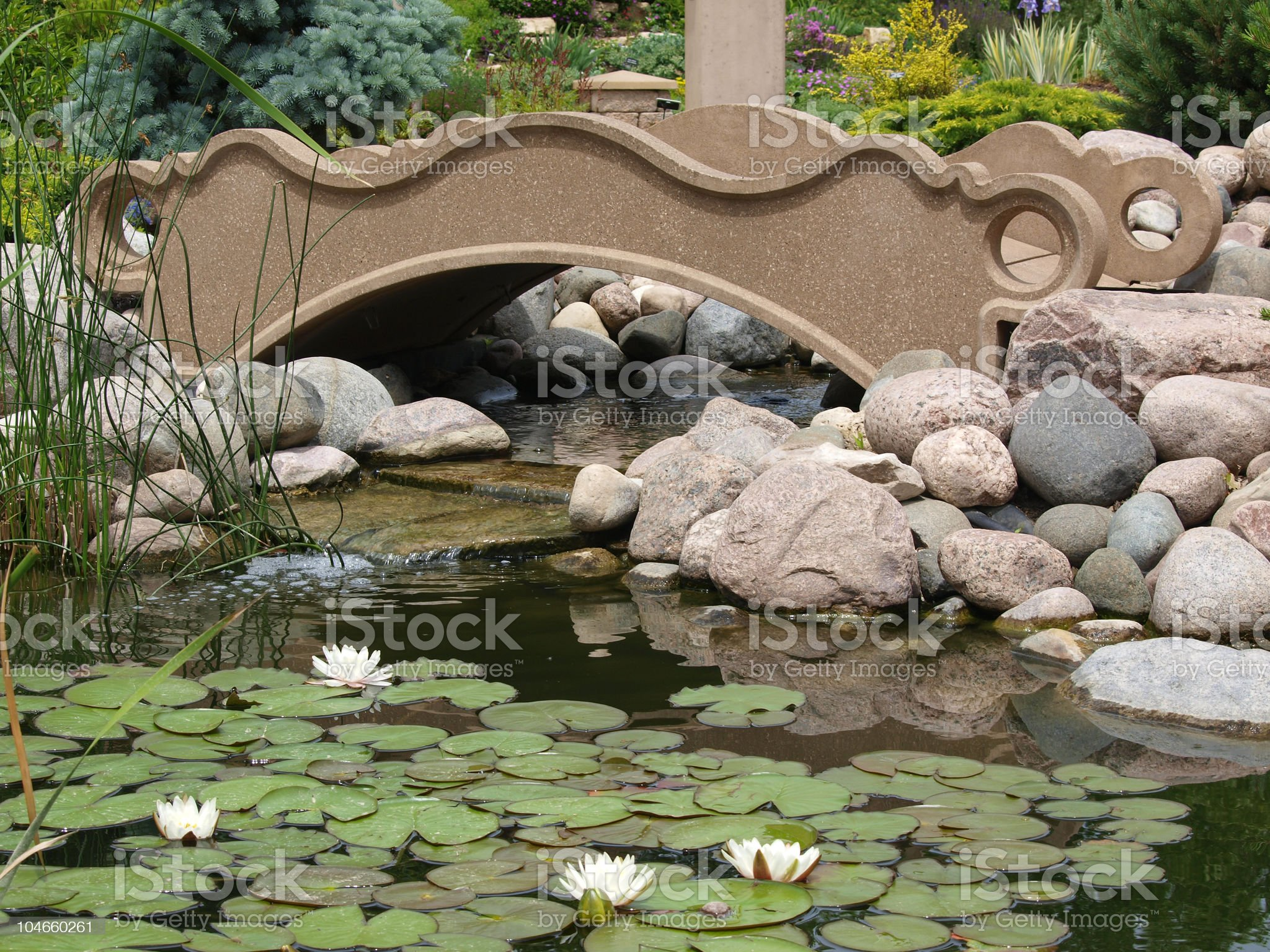 Chinese-style Bridge and Water Garden royalty-free stock photo