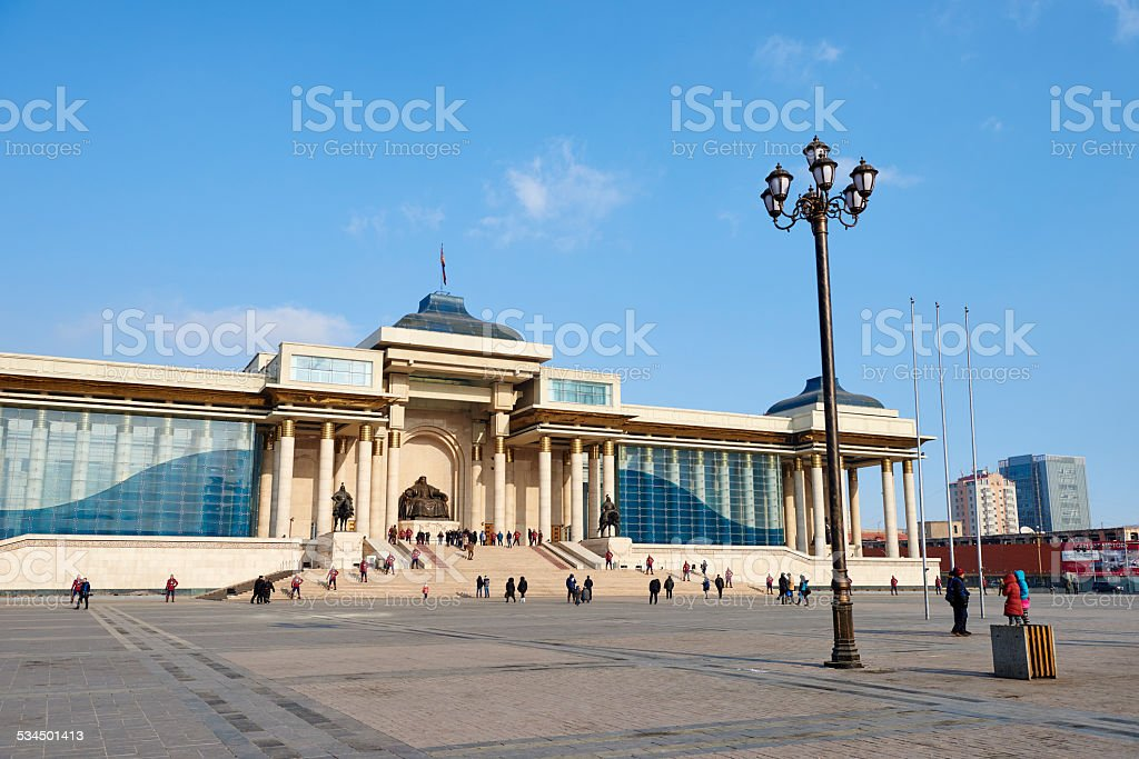 Chinggis Square in Ulaanbaatar stock photo