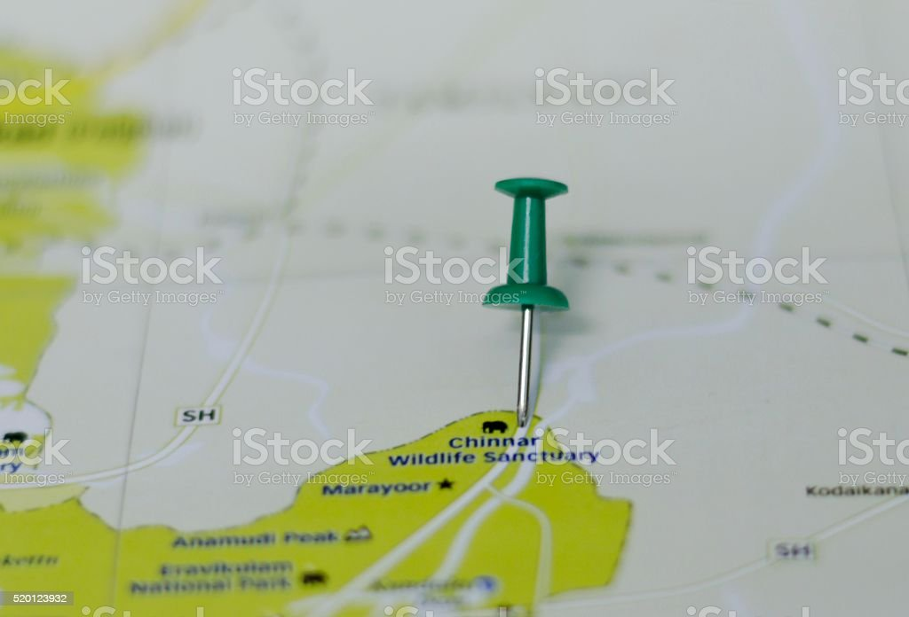 Chinnar Wildlife Sanctuary Marked on Map with Red Pushpin stock photo