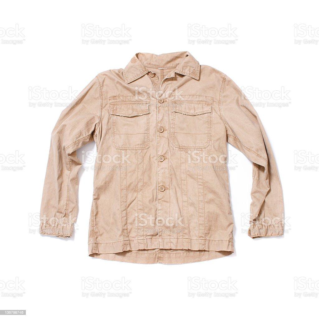 Chino Military Shirt on White Background stock photo