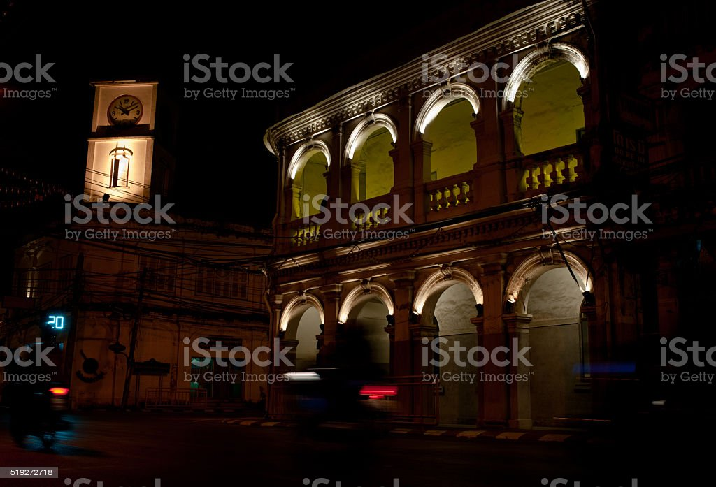Chino Portuguese clock tower in phuket old town, Thailand stock photo