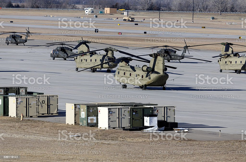 Chinook and Black Hawk Helicopters stock photo