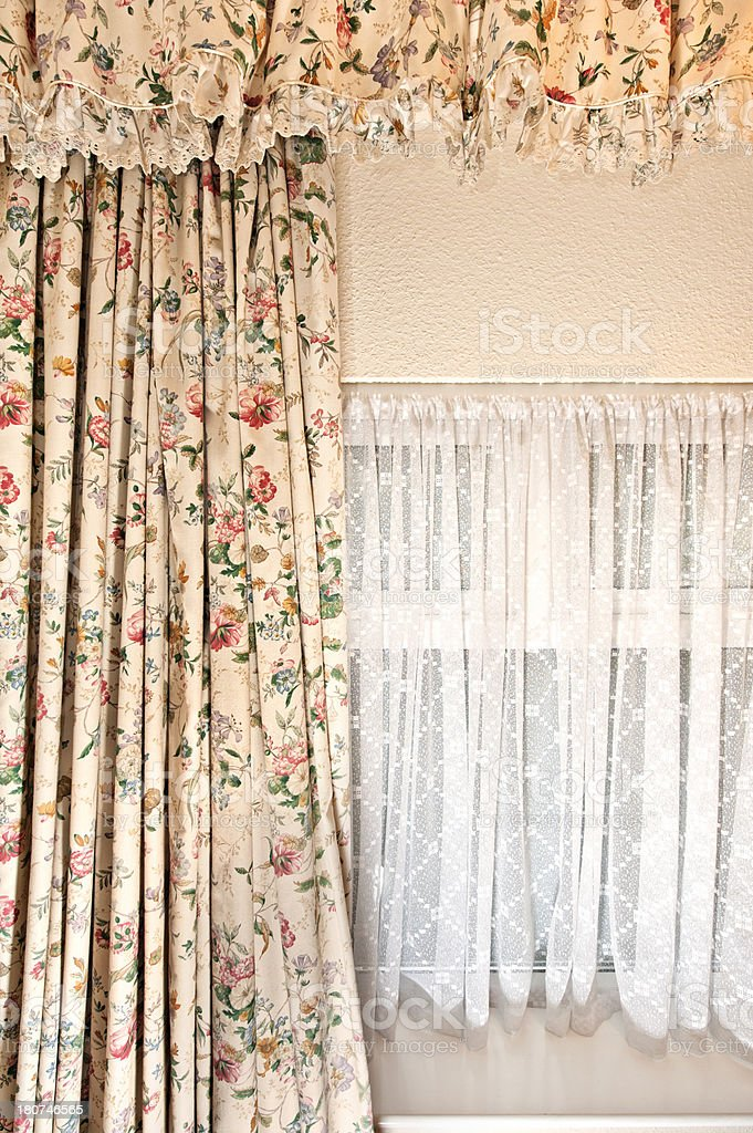 Chintz curtain window treatment stock photo