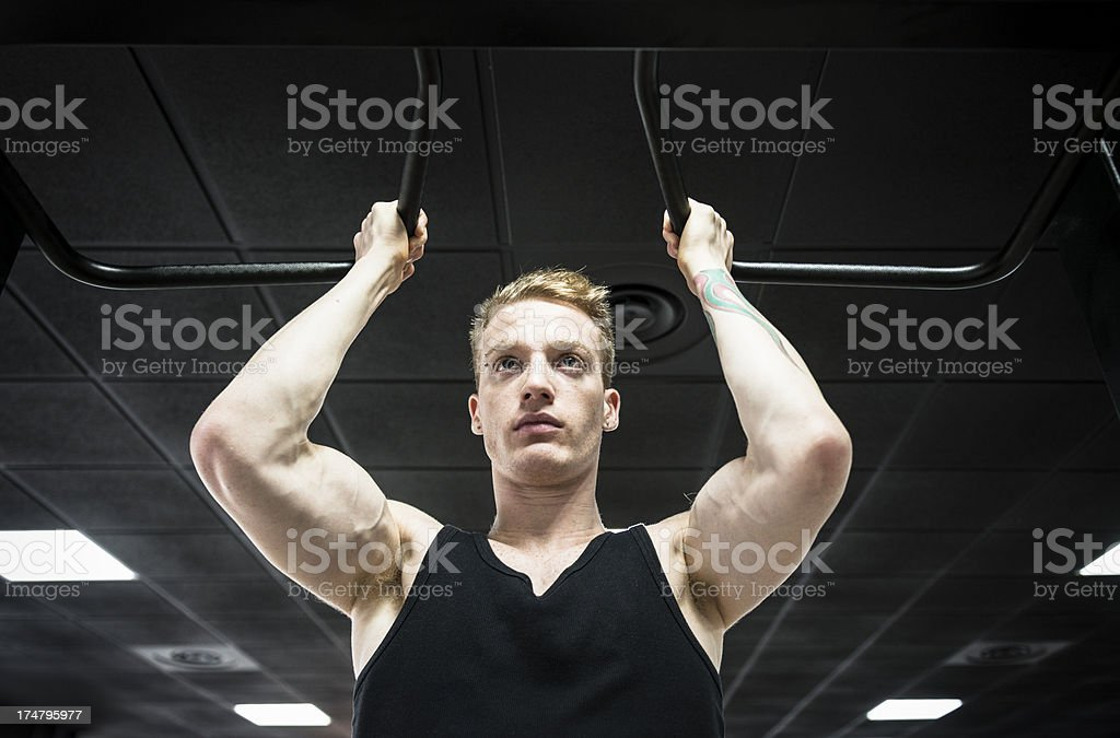 Chin-Ups on a gym royalty-free stock photo