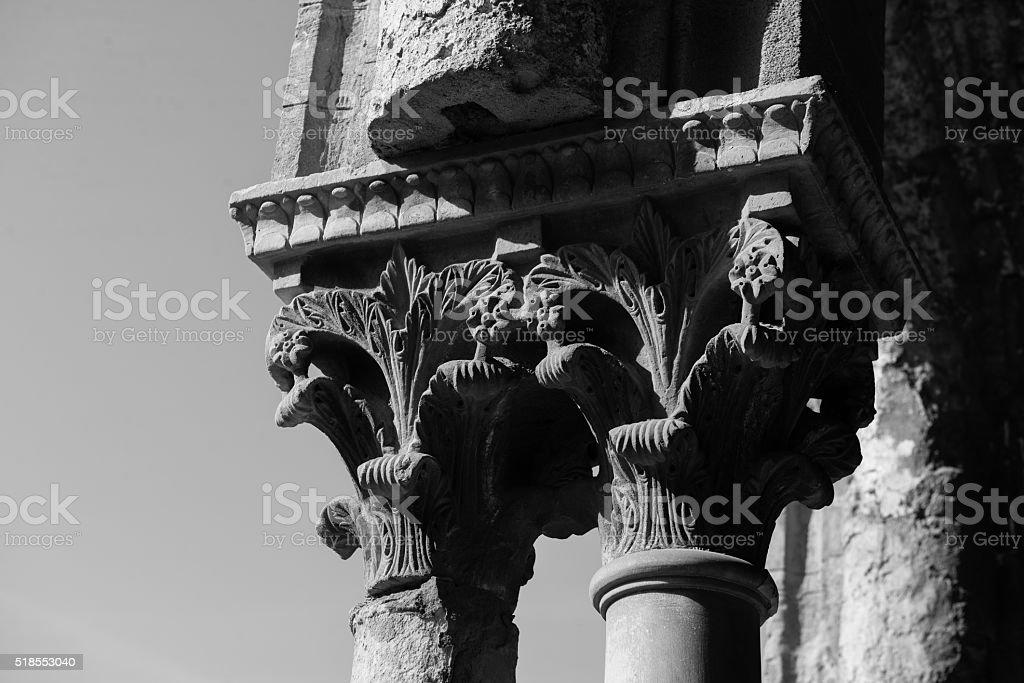 Chiostro del Duomo di Monreale, in Sicilia. 13° Capitello. E. stock photo