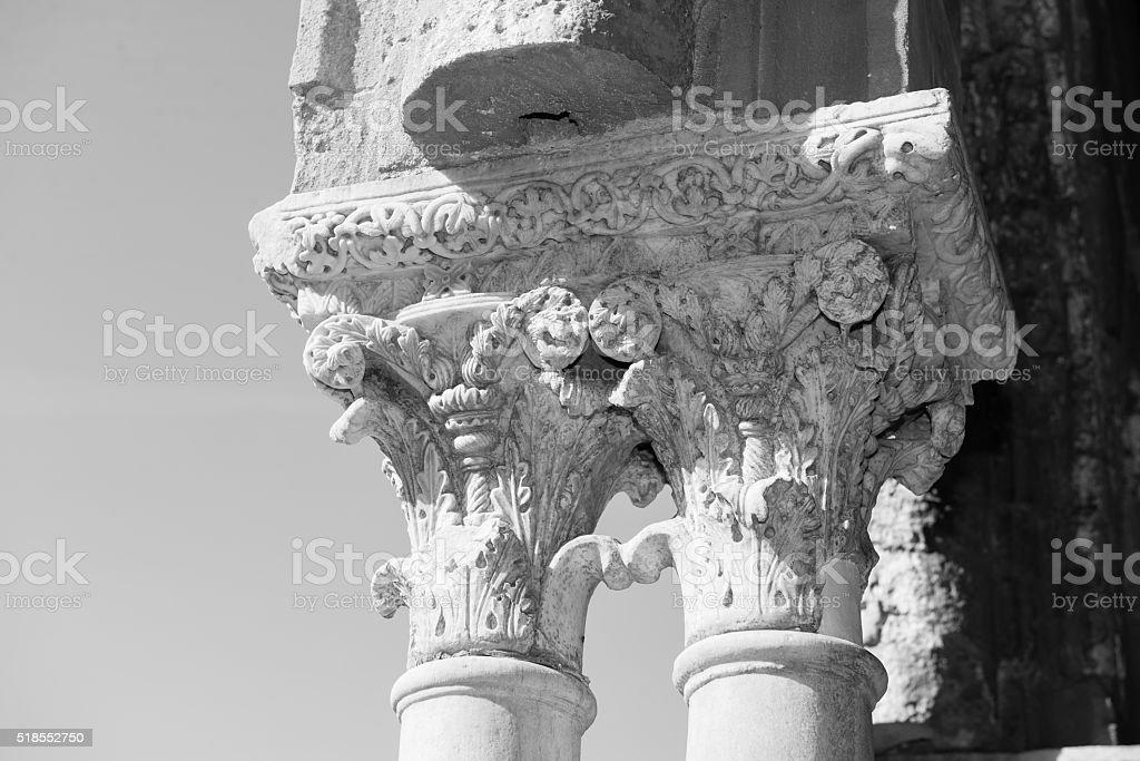 Chiostro del Duomo di Monreale, in Sicilia. 19° Capitello. E. stock photo