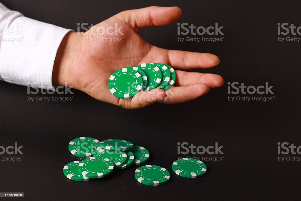 Chip in a hand royalty-free stock photo