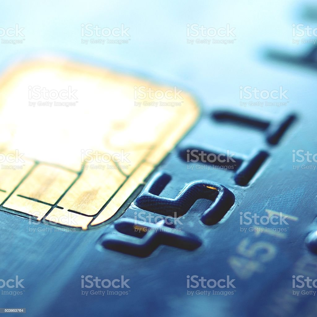 Chip of credit card stock photo
