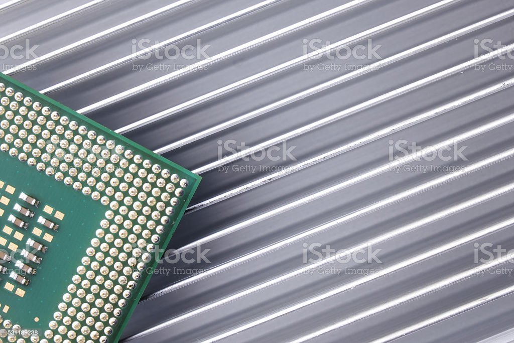 CPU Chip On Heat-sink stock photo