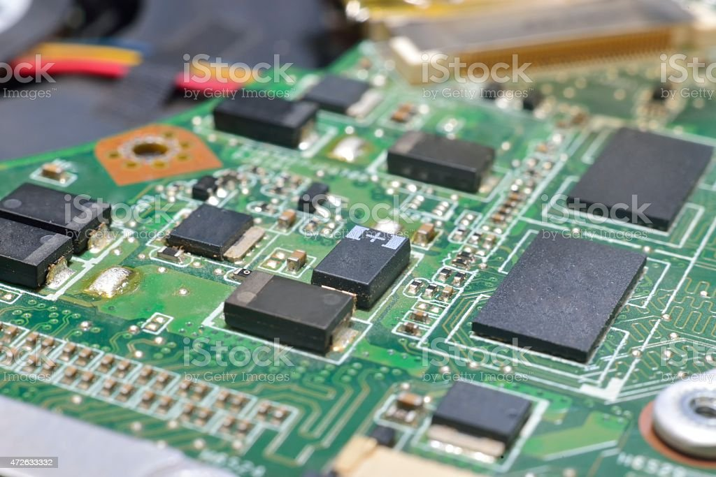 chip on motherboard stock photo