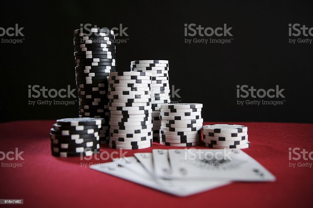 Chip Stack and Cards... royalty-free stock photo