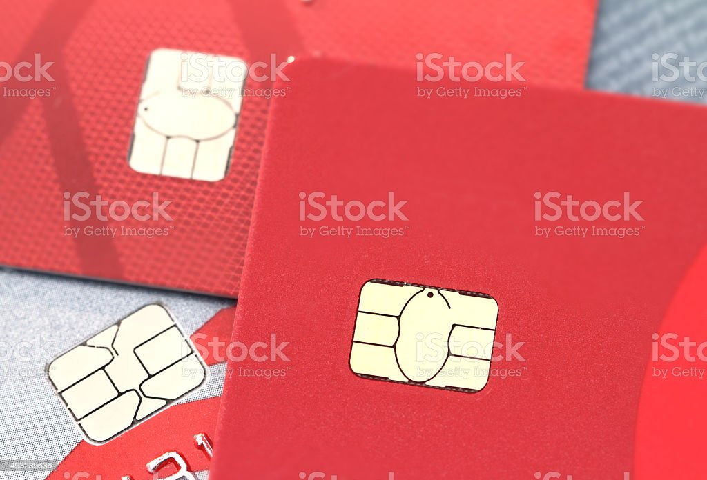 Chip technology in credit cards stock photo