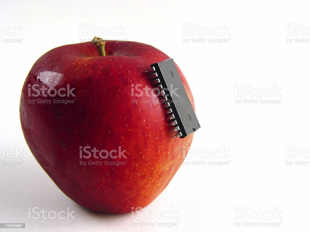 Chip-attack on red apple! stock photo