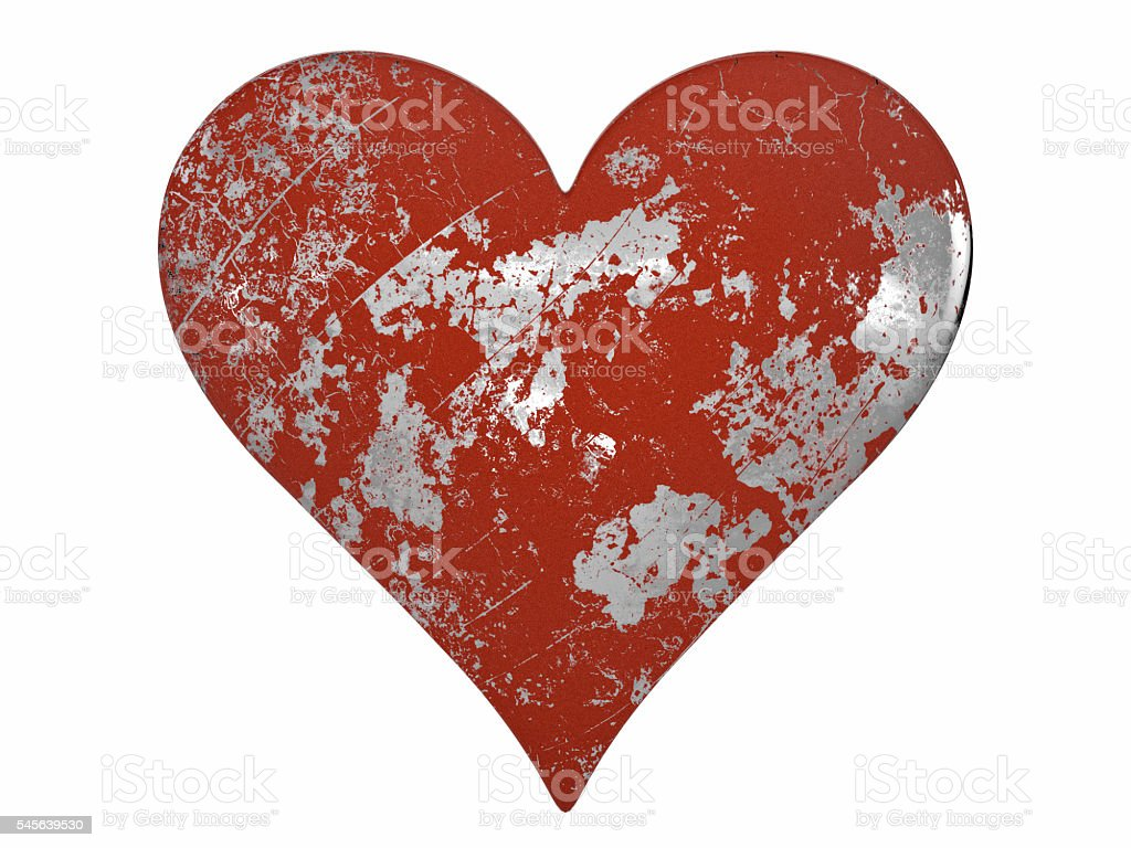 Chipped and Scratched Painted Metal Heart stock photo