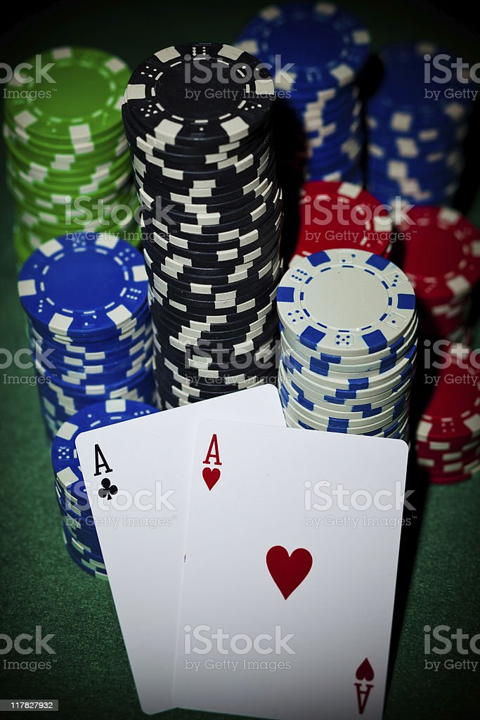Chips and 2 aces stock photo