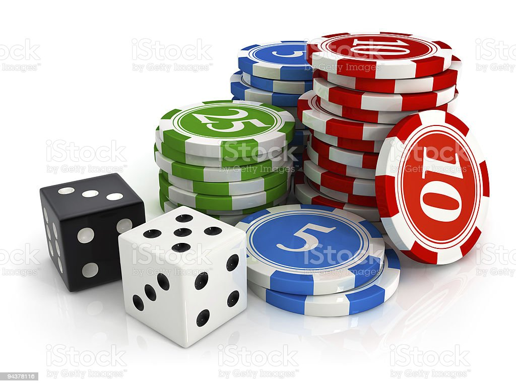 chips and dice game from casino stock photo