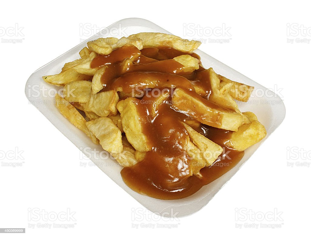 chips and gravy stock photo