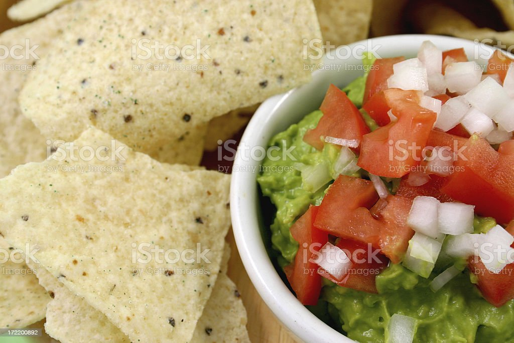chips and guacamole close-up. stock photo