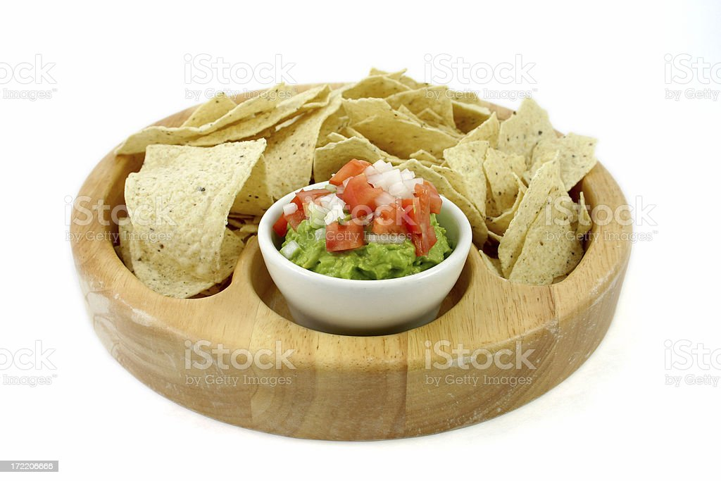chips and guacamole on white. stock photo