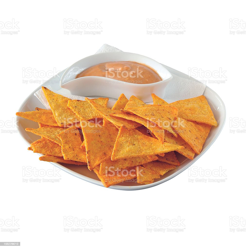 Chips and sauce royalty-free stock photo
