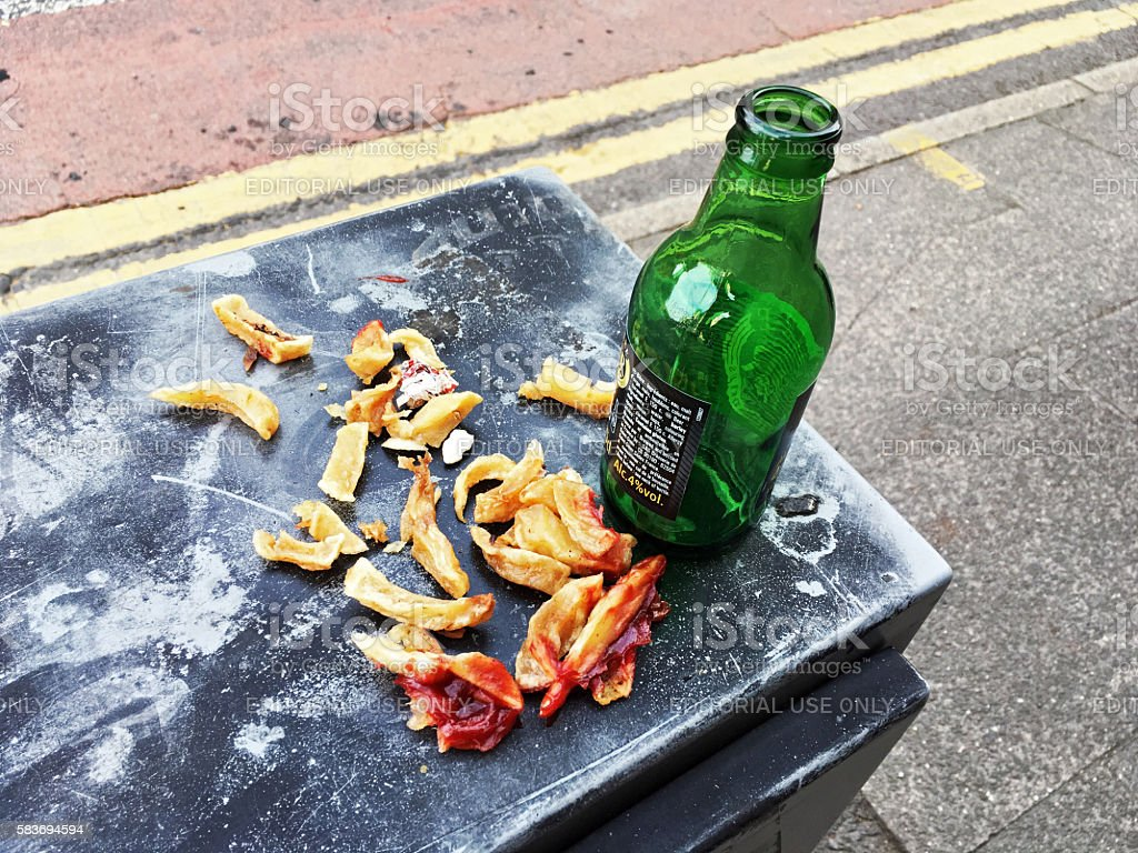 Chips french fries dinner with beer, England stock photo