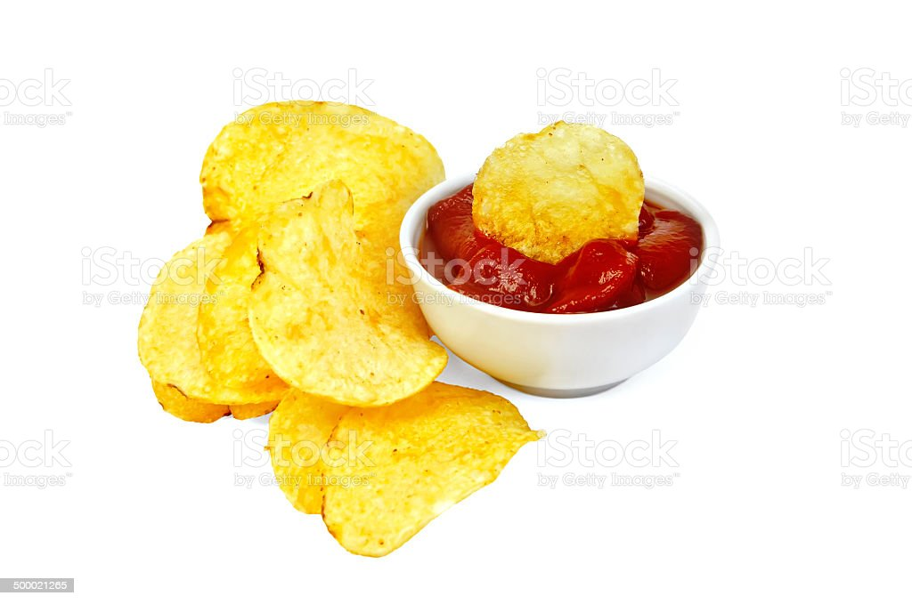 Chips in tomato sauce royalty-free stock photo