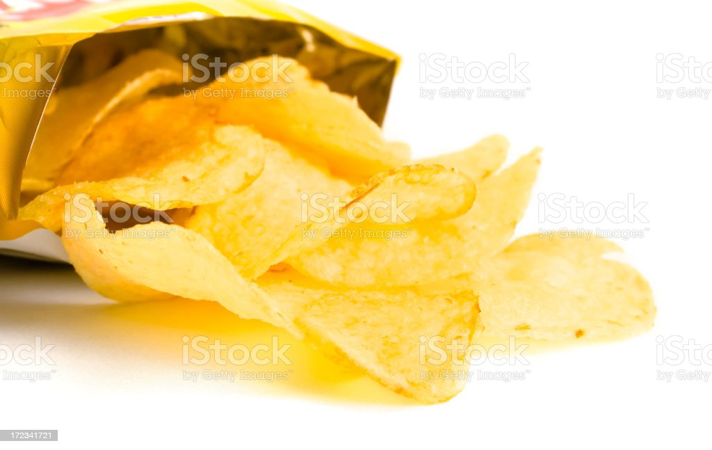 Chips out of bag stock photo