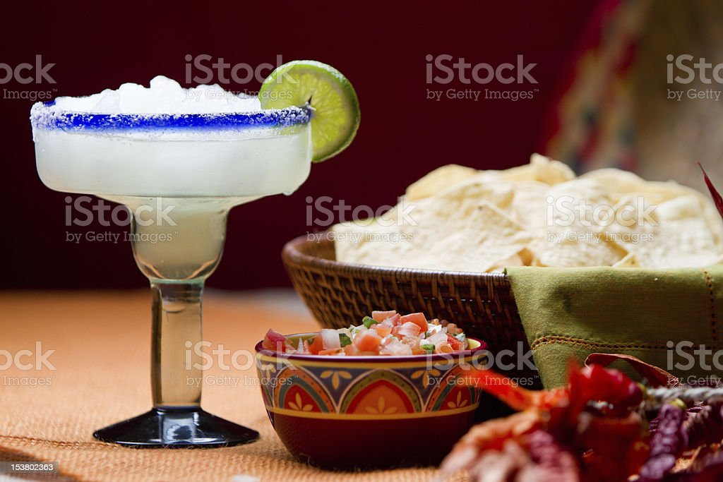 Chips, Salsa and Margarita Mexican Food and Drink royalty-free stock photo