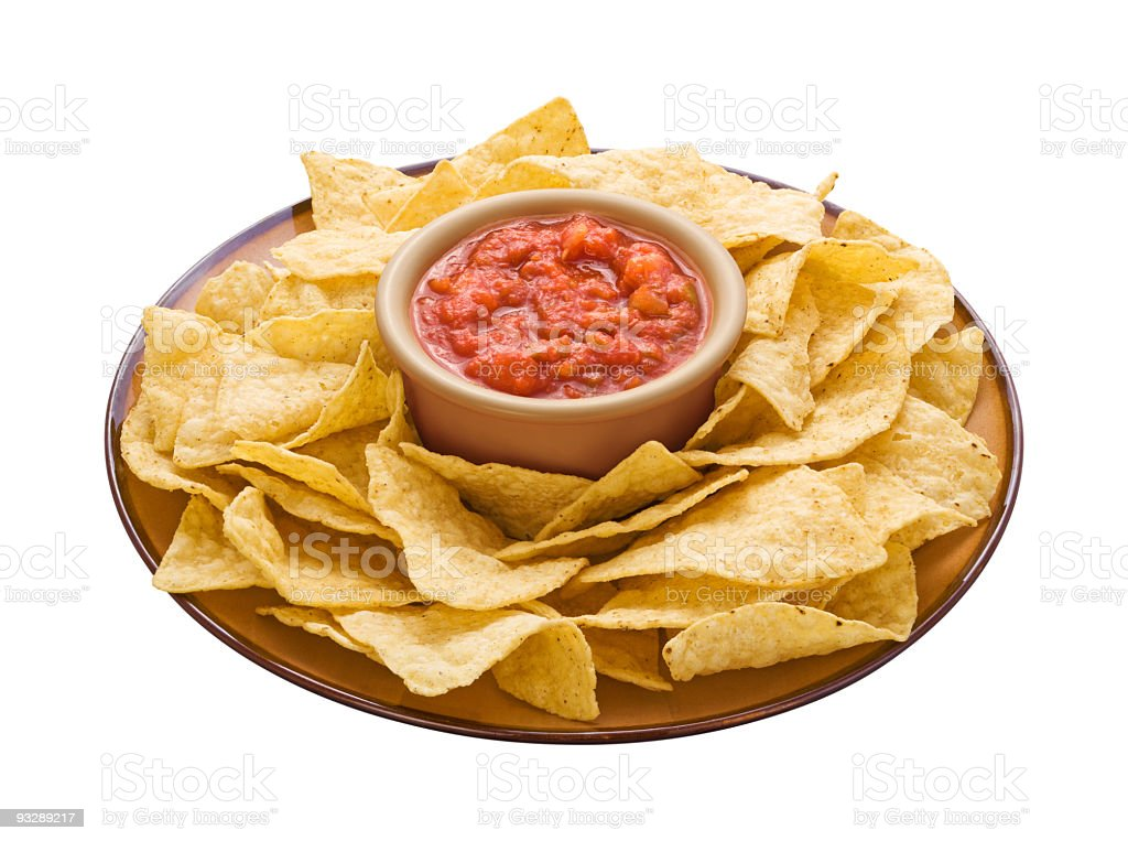 Chips & Salsa with a clipping path stock photo